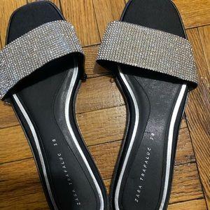 Zara rhinestone slides